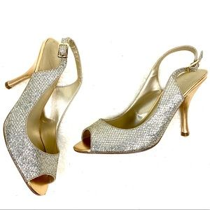 Nine West Sparkly Metallic Gold & Silver Slingback